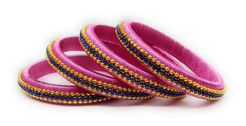 Pink Color Silk Thread Bangles - Aarohi-109