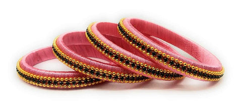 Pink Color Silk Thread Bangles - Aarohi-111