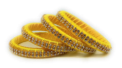 Buy Yellow Color Silk Thread Bangles