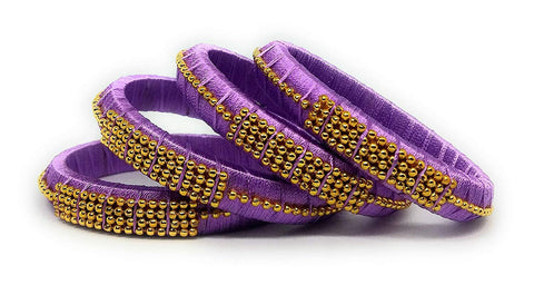Purple Color Silk Thread Bangles - Aarohi-113