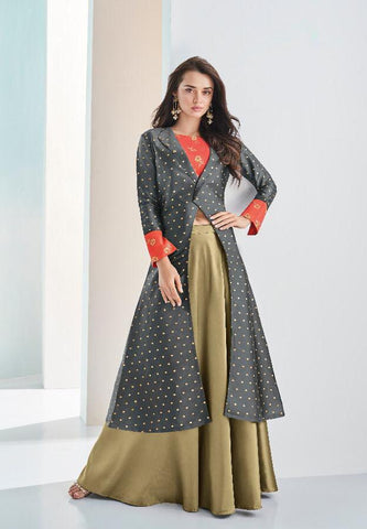 Grey Color Soft Silk Two Tone Stitched Kurti - Aarohi-24001