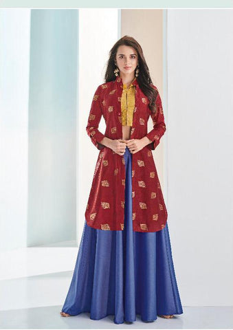 Blue Color C and N Barfi Silk Stitched Kurti - Aarohi-24003