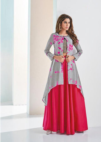 Grey Color C and N Barfi Silk Stitched Kurti - Aarohi-24007