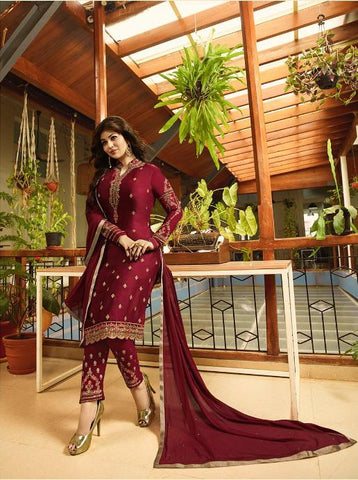 Maroon Color Satin Georgette Semi Stitched Salwar - Aayesha-22142