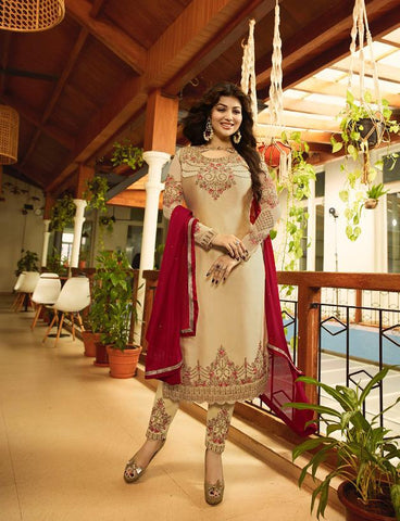 Cream Color Satin Georgette Semi Stitched Salwar - Aayesha-22143