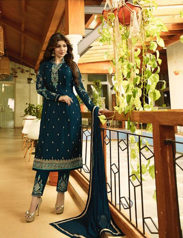 Teal Blue Color Satin Georgette Semi Stitched Salwar - Aayesha-22144