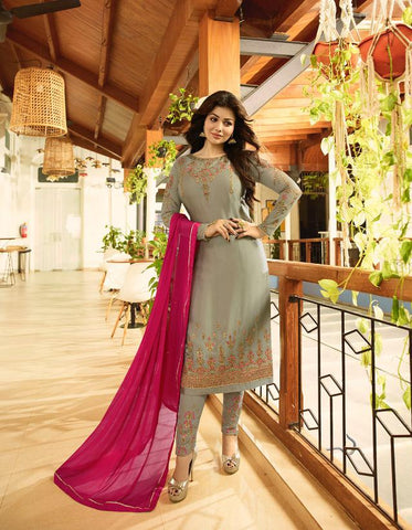 Grey Color Satin Georgette Semi Stitched Salwar - Aayesha-22145