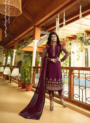 Wine Color Satin Georgette Semi Stitched Salwar - Aayesha-22146