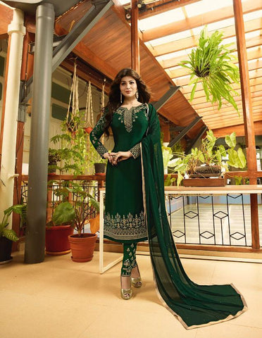 Green Color Satin Georgette Semi Stitched Salwar - Aayesha-22147