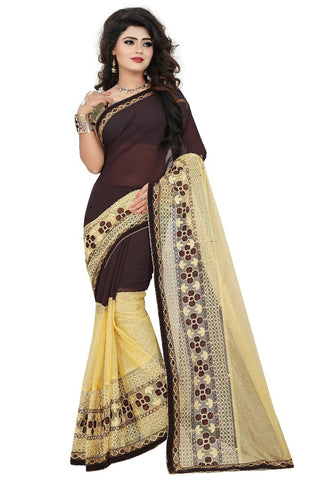 SRP FASHION-Brown Color Russel Net  Saree- AditiCoffee
