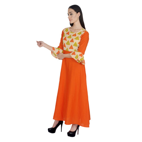Orange Color Cotton Embroidery Kurti - Af1-Orange