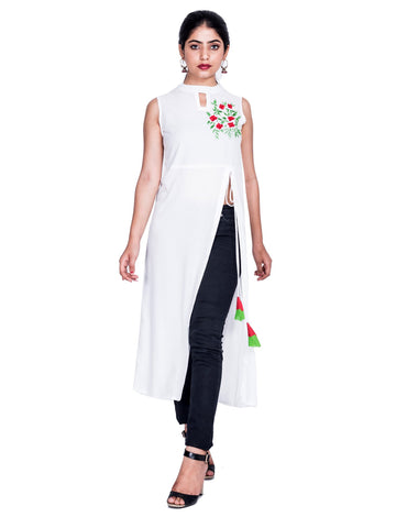 white  Color Reyon Embroidery Work Kurti - Af41-white