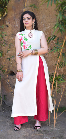 white Color Reyon Embroidery Work Kurti - Af42-white