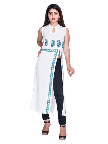 White Blue Color Reyon Block print Kurti - Af61 WHITE BLUE