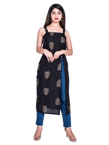 Black Color Cotton Hand Block Print Kurti - Af74 BLACK