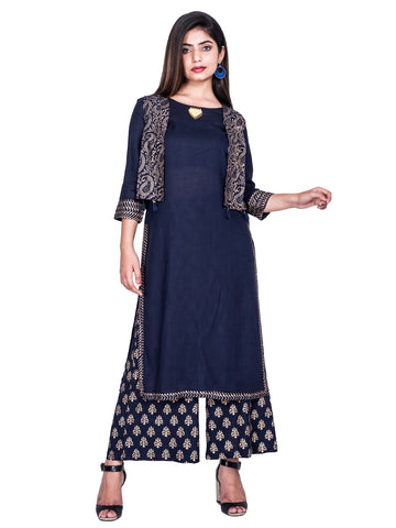 Blue Color Reyon Printed Kurti With Plazzo And Jacket - Af75 Blue
