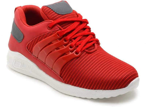 Red Color Mesh Shoes for Unisex - Air-Red