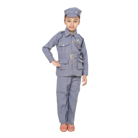 Blue Color Cotton Blend Fancy Costume Dress  - Air Force-1