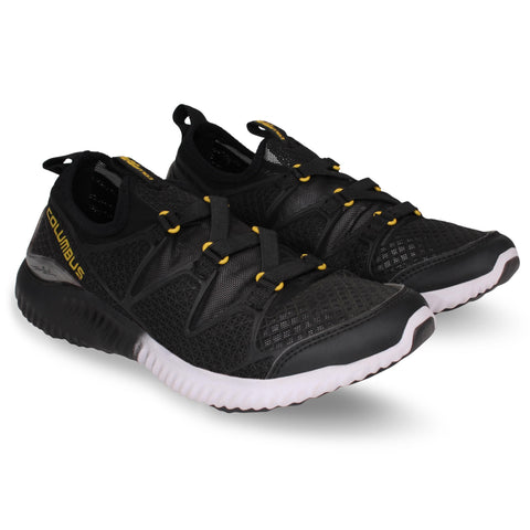 Black and Lemon Color Synthetic Men's Shoe  - Airline-BlackLemon