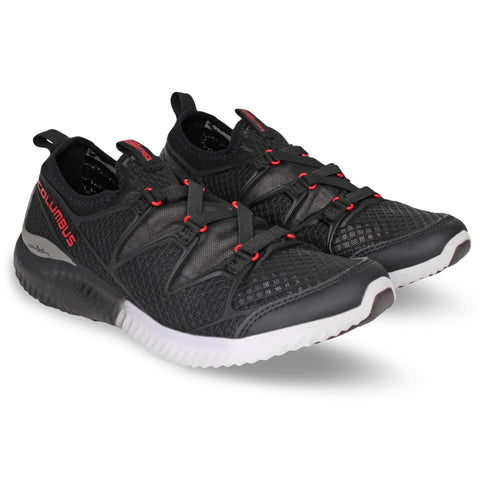 Black and Red Color Synthetic Men's Shoe  - Airline-BlackRed