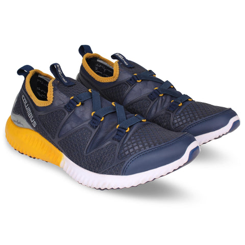 Navy Yellow Color Synthetic Men's Shoe  - Airline-NavyYellow