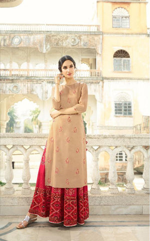 Chikoo Color Slub With Handwork Lehenga - Alisha-1142