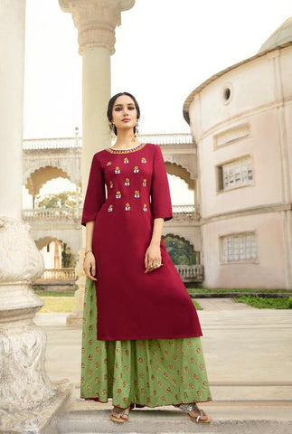 Maroon Color Rayon With Elegant Handwork Lehenga - Alisha-1145