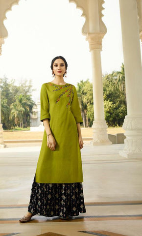 Green Color Rayon Slub With Designer Handwork Lehenga - Alisha-1148
