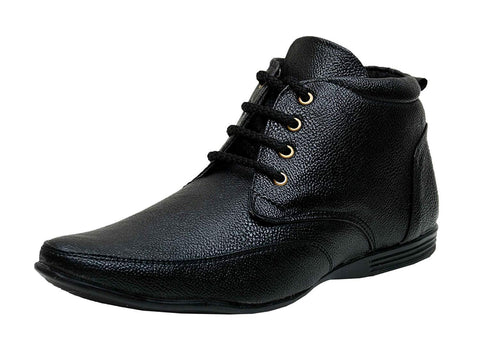 Black Color Synthetic Men's Shoes - Ample-5