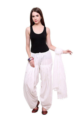COMBOS - White Color Cotton Stitched Women Patiala Pant With Duppata - Ample-White