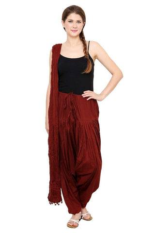 COMBOS - Maroon Color Cotton Stitched Women Patiala Pant With Duppata - Ample-Maroon