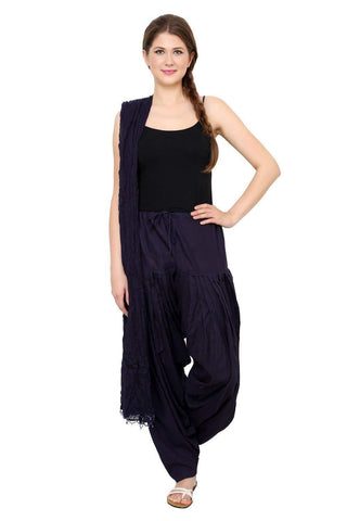 COMBOS - Navy Color Cotton Stitched Women Patiala Pant With Duppata - Ample-Navy