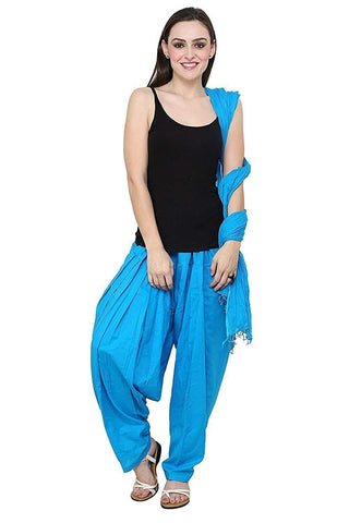 COMBOS - Skyblue Color Cotton Stitched Women Patiala Pant With Duppata - Ample-Skyblue