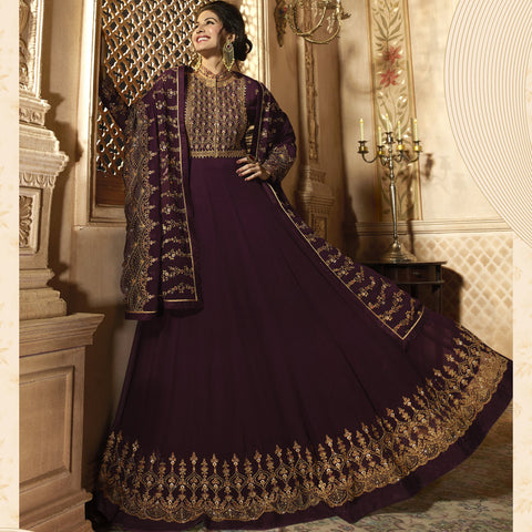Purple Color Pure Georgette Semi Stitched Salwar - Amyra-9085
