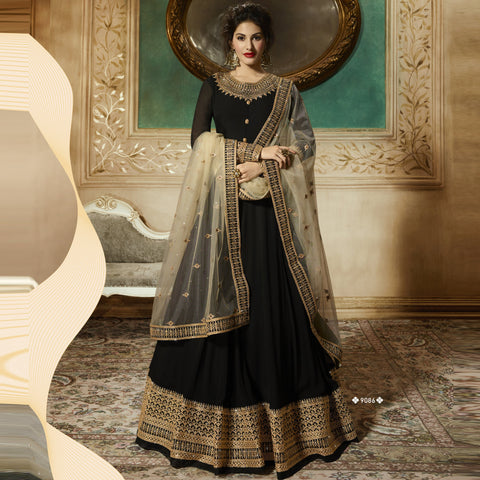 Black Color Pure Georgette Semi Stitched Salwar - Amyra-9086