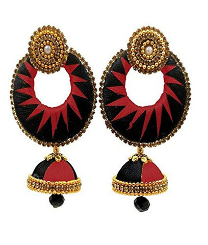 Crystal Double Color Silk Thread Fancy Handmade Ear Rings - Ananya-001