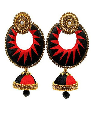 Crystal Double Color Silk Thread Fancy Handmade Ear Rings - Ananya-003
