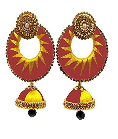 Crystal Double Color Silk Thread Fancy Handmade Ear Rings - Ananya-004