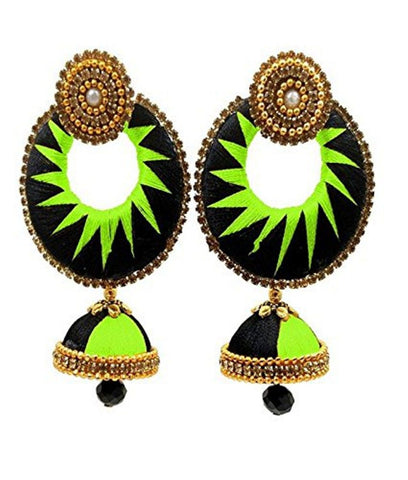 Crystal Double Color Silk Thread Fancy Handmade Ear Rings - Ananya-005