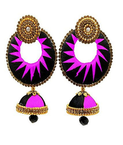 Crystal Double Color Silk Thread Fancy Handmade Ear Rings - Ananya-006