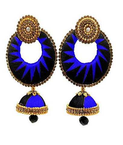 Crystal Double Color Silk Thread Fancy Handmade Ear Rings - Ananya-007