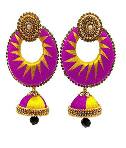 Crystal Double Color Silk Thread Fancy Handmade Ear Rings - Ananya-008