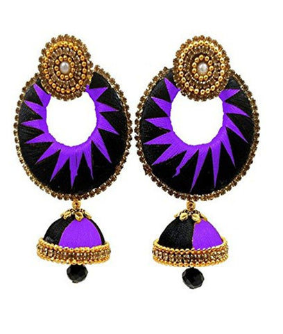 Crystal Double Color Silk Thread Fancy Handmade Ear Rings - Ananya-009