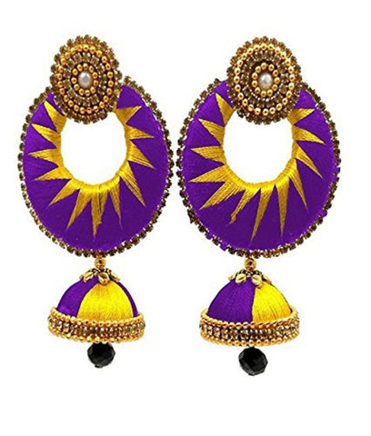 Crystal Double Color Silk Thread Fancy Handmade Ear Rings - Ananya-011