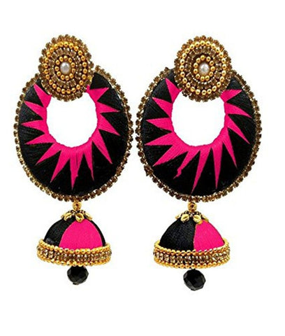 Crystal Double Color Silk Thread Fancy Handmade Ear Rings - Ananya-012