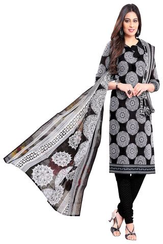 Black Color Cotton Stitched Salwar - Apsara11-11001