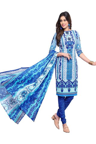 Light Blue Color Cotton Stitched Salwar - Apsara11-11004