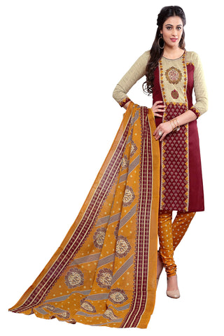 Beige And Maroon Color Cotton Stitched Salwar - Apsara11-11008