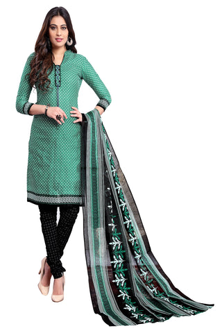 Green Color Cotton Stitched Salwar - Apsara11-11009