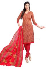 Buy Brown Color Cotton Stitched Salwar